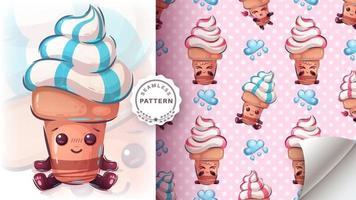 Sweet ice cream carton character vector