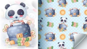 Panda with money seamless pattern vector
