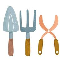 gardening agriculture tools trowel rake and scissors hand drawn color vector