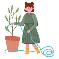 gardening girl spraying water to a plant with hose vector