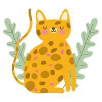 feline jungle animal wildlife cartoon hand drawn style vector