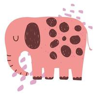 elephant jungle animal wildlife cartoon hand drawn style vector
