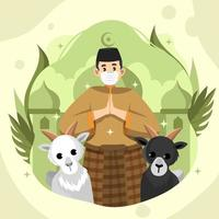 Eid Adha Celebration with Moslem And Two Goats vector