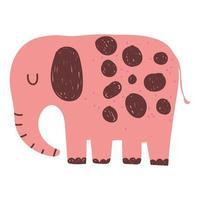 elephant jungle animal wildlife cartoon hand drawn isolated vector
