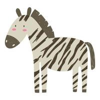 cebra selva animal vida silvestre dibujos animados dibujados a mano aislado vector