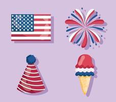 4 de julio festivo americano vector