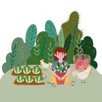 girl with chicken plants lemon cabbage plantation and tomatoes vector