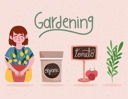 gardening girl with plant sign and tomatoes cartoon vector