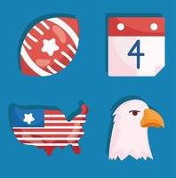 4 July american icon vector
