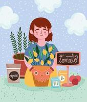 gardening girl with plant fruits tomatoes organic seeds vector