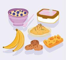 healthy food breakfast cereal banana cheese cookies vector
