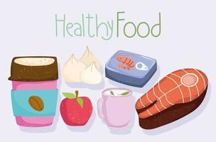 healthy food apple tea cup fish coffee cup fresh vector