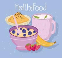 comida sana cereal té taza frutas y arroz vector