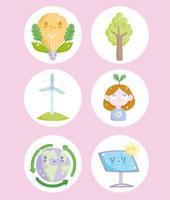 ecology cartoon icons vector