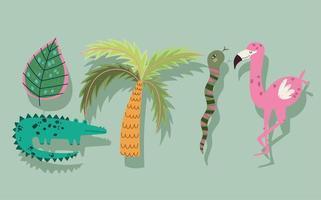 cartoon jungle animals flamingo crocodile snake palm leaf vector
