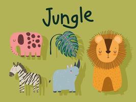 animales de la selva león elefante cebra rinoceronte y hoja dibujos animados vector