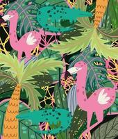 cartoon jungle animals flamingos crocodiles tropical palm tree foliage vector