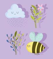spring bee flowers cloud raindrops and vector