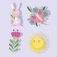 spring rabbit butterfly sun flowers nature icon set vector