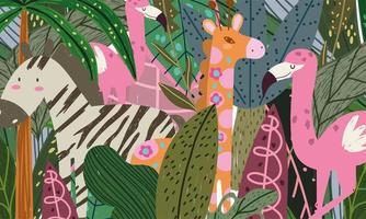 cartoon jungle animals cartoon abstract flamingo giraffe and zebra vector