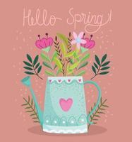 hola primavera regadera flores follaje naturaleza vector