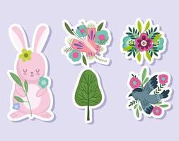 spring rabbit flowers tree bird butterfly stickers set vector