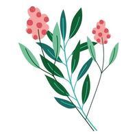 flowers stem leaves vector