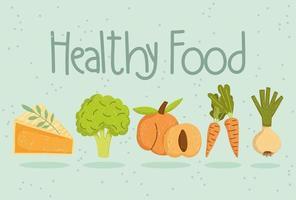 healthy food slice cake broccoli carrots onion and peach vector