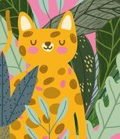 jungle animal cute feline and foliage wildlife cartoon vector