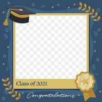 plantilla de marco de foto de graduación plana azul y amarilla vector