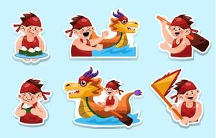 Dragon Boat Festival Stickers vector