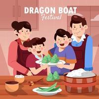 Happy Family Make Zongzi Rice Dumpling vector