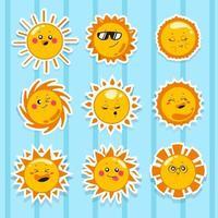 Happy Cute Face Sun Emoticon vector
