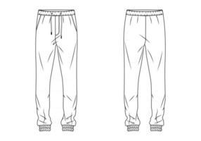 Men track pant flat sketch vector