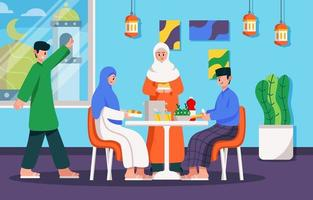 Family Gathering during Eid Fitr vector