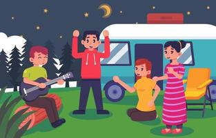 Gathering with Friends on Summer Camp vector