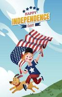 A Boy and His Dog Celebrating Independence Day vector