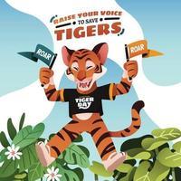Jumping Tiger Mascot Hold A Campaign Flag vector