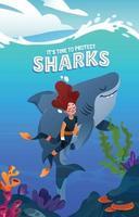 A Diver Diving Beside A Shark vector