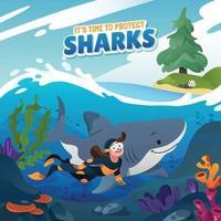 A Diver Swimming Beside A Shark vector