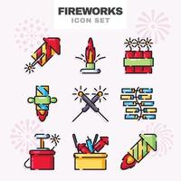 Set of Fireworks Icon vector