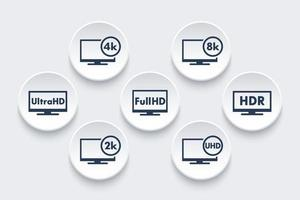 Ultra HD TV and Full HD or 4k and 8k video icons vector