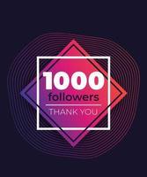 1000 followers greeting banner vector