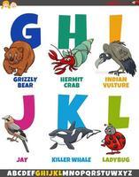 alfabeto de dibujos animados con divertidos personajes de animales vector