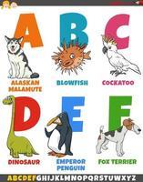 colección de alfabeto de dibujos animados educativos con animales vector