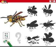 juego de sombras con personaje de insecto avispa de dibujos animados vector