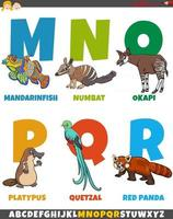 cartoon alphabet set with funny animal characters vector