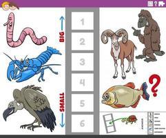 juego educativo con animales de dibujos animados grandes y pequeños. vector