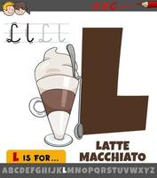letter L from alphabet with cartoon latte macchiato drink vector