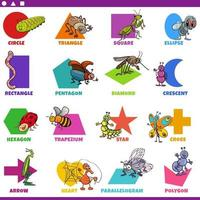 basic geometric shapes with comic insects characters set vector